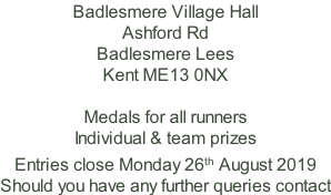 Badlesmere Village Hall Ashford Rd Badlesmere Lees Kent ME13 0NX  Medals for all runners Individual & team prizes Entries close Monday 26th August 2019 Should you have any further queries contact